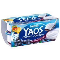 Nestlé Nestlé Yaos - Le Yaourt à la Grecque sur lit de myrtilles les 4 pots de 125 g