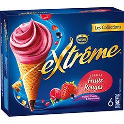 Nestlé Extrême Les Collections - Sorbets fruits rouges la boite de 6 cônes - 426 g