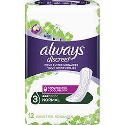 Always Always Serviettes discreet pour fuites urinaires, normal Le paquet de 12 serviettes