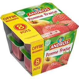 Andros Andros Dessert de pomme fraise les 8 pots de 100 g - Offre Découverte