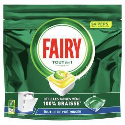 Fairy Fairy Lave-vaisselle peps tout-en-1 plus, capsules citron Le paquet de 24 capsules