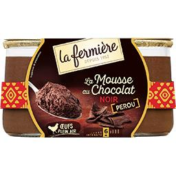 La Fermière La Fermière Desserts mousse au chocolat noir les 2 pots de 85 g