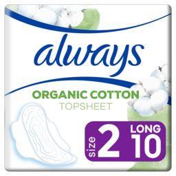 Always Always Serviettes hygiéniques cotton protection taille 2 long le paquet de 10 serviettes