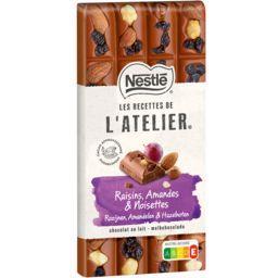 Nestlé Nestlé Grand Chocolat Les Recettes de l'Atelier - Chocolat au lait raisins, amandes & noisettes la tablette de 170 g