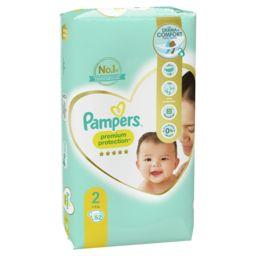 Pampers Pampers Couches Premium Protection taille2, 4kg-8kg Le paquet de 52 couches