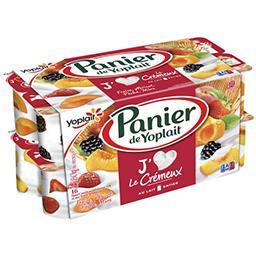 Yoplait Panier de Yoplait Yaourt sucré Le Crémeux fraise, abricot pêche, mûre les 16 pots de 130 g