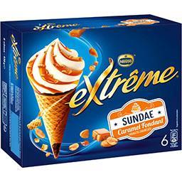 Nestlé Extrême Glaces Sundae caramel cacahuètes caramélisées la boite de 6 cônes - 438 g