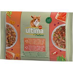 Ultima ULTIMA NATURE Pâtée pour chat, bouchées saumon & truite les 4 sachets de 85g