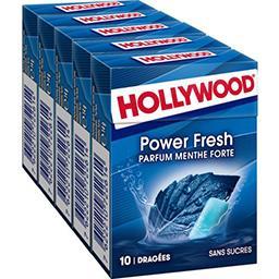 Hollywood Hollywood Power Fresh - Chewing-gum menthe forte sans sucres les 5 boites de 10 dragées - 70 g