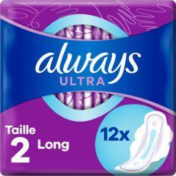 Always Always Serviettes hygiéniques ultra  long (t2) avec ailettes Le paquet de 12 serviettes