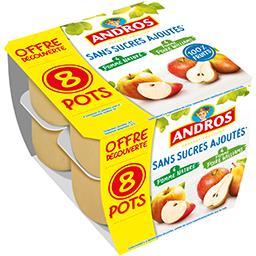 Andros Andros Purée de pomme nature et pomme poire sans sucres ajoutés les 8 pots de 100 g - Offre Découverte