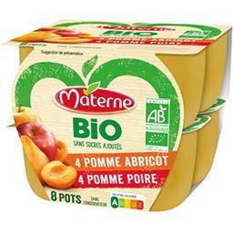 Materne Materne Bio - Spécialité pomme abricot-pomme poire BIO sans sucres ajoutés les 8 pots de 100 g