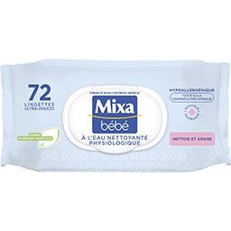 Mixa Mixa Bébé Lingettes ultra-douces à l'eau nettoyante physiologique le paquet de 72
