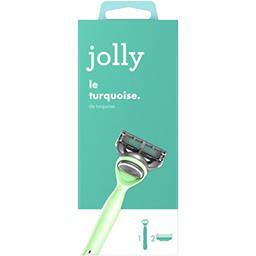 Jolly Jolly Rasoir turquoise pour femme Le manche + 2 lames