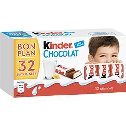 Kinder Kinder Chocolat - Barres chocolatées la boite de 32 bâtonnets - 400 g