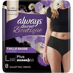 Always Always Discreet Culottes pour fuites urinaires boutique taille basse, l noires Le paquet de 8 culottes