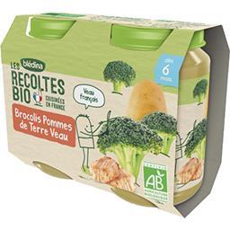 Blédina Blédina Les Récoltes BIO - Brocolis pommes de terre veau BIO, 6 mois les 2 pots de 200 g