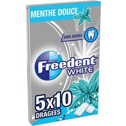 Freedent Freedent White - Chewing-gum menthe douce sans sucres les 5 paquets de 10 dragées - 70 g