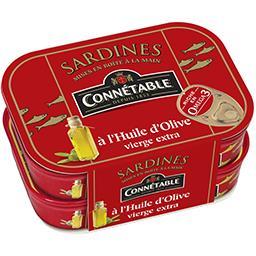 Connetable Connétable Sardines à l'huile d'olive vierge extra les 2 boites de 115 g