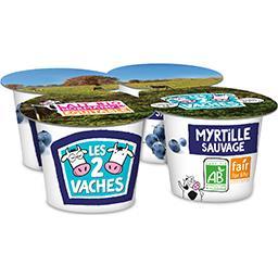 Les 2 vaches Les 2 Vaches Yaourt fruit brassé myrtille, BIO, les 4 pots de 115g - 460g