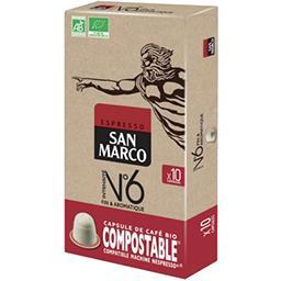 San Marco San Marco Capsules de café Fin & Aromatique BIO les 10 capsules de 5,1 g