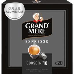 Grand'Mère Grand'Mère Capsule de café moulu Expresso corsé n°10 la boite de 20 - 104 g