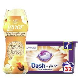 Dash DASH LENOR Lessive souffle précieux la boîte de 32 et parfum de linge en perles souffle précieux la boîte de 224g Le lot