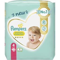 Pampers Pampers Couches premium protection taille 4, 9kg-14kg Le paquet de 23 couches