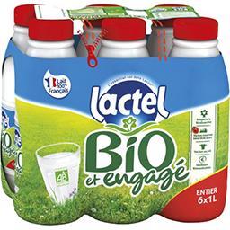 Lactel Lactel Lait entier BIO U.H.T. les 6 bouteilles de 1 l