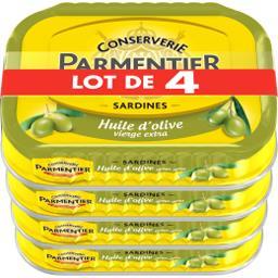 Parmentier Parmentier Sardines huile d'olive le lot de 4 boites de 95 g net égoutté