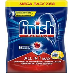 Finish Finish Powerball - Tablettes lave-vaisselle All In 1 Max parfum citron le paquet de 68 tablettes - 1,108 kg