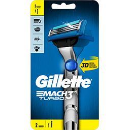 Gillette Gillette Rasoir 3d pour homme Mach3 turbo Le manche + 2 lames