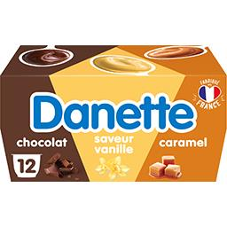 Danone Danone Danette - Dessert chocolat saveur vanille caramel chocolat les 12 pots de 115 g