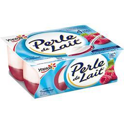 Yoplait Yoplait Perle de Lait - Spécialité laitière sur lit à la framboise les 4 pots de 125 g