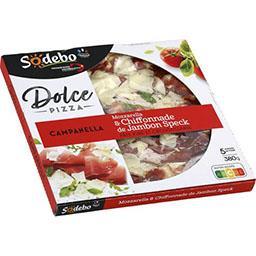 Sodeb'O Sodebo Dolce Pizza - Pizza Campanella mozzarella & chiffonnade de jambon la boite de 380 g