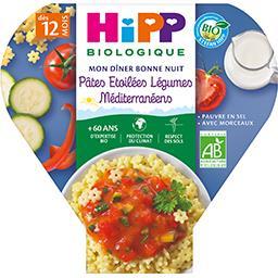 HiPP Hipp biologique Mon Dîner Bonne Nuit - Pâtes étoilées légumes méditerranéens BIO, dès 12 mois l'assiette de 230 g