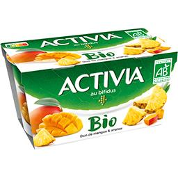Danone Danone Activia - Yaourt BIO au bifidus duo de mangue & ananas les 2 pots de 145 g