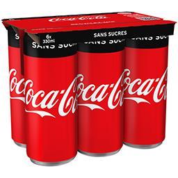Coca Cola Coca-Cola Zero - Soda au cola sans sucres les 6 cannettes de 330 ml
