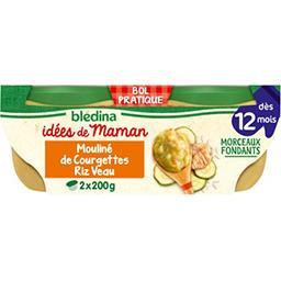 Blédina Blédina Les Idées de Maman - Mouliné de courgettes riz veau, dès 12 mois les 2 bols de 200 g