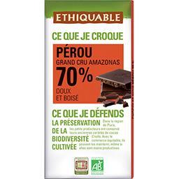 Ethiquable Ethiquable Chocolat noir 70% Pérou BIO la tablette de 100 g