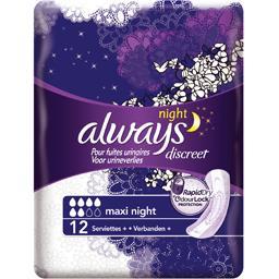 Always Always Serviettes discreet maxi night pour fuites urinaires et incontinence Le paquet de 12 serviettes