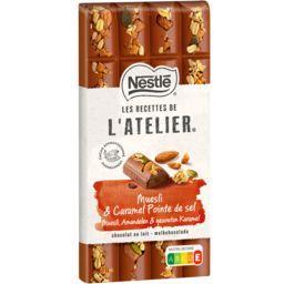 Nestlé Nestlé Grand Chocolat Les Recettes de l'Atelier - Chocolat au lait muesli & caramel pointe de sel la tablette de 170 g