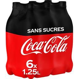 Coca Cola Coca-Cola Zero - Soda au cola sans sucres les 6 bouteilles de 1,25 l