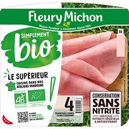 Fleury Michon Fleury Michon Jambon Simplement Bio sans couenne la barquette de 4 tranches fines - 120g