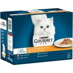 Gourmet Gourmet Perle - Les Filettines en sauce viandes poisson pour chats les 12 sachets de 85 g