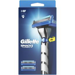 Gillette Gillette Rasoir pour homme + 3lames Mach3 Turbo La boite avec un rasoir et 3 lames