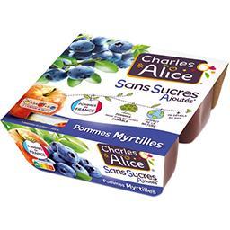 Charles & Alice Charles & Alice Pommes myrtilles sans sucres ajoutés les 4 pots de 97 g