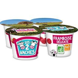 Les 2 vaches Les 2 Vaches Yaourt fruit brassé framboise, BIO, les 4 pots de 115g