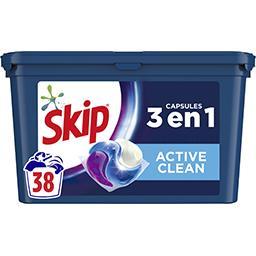 Skip Skip Lessive trio en capsules active clean le paquet de 38 dosettes