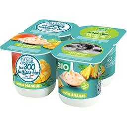 Les 300 & Bio Les 300 & bio Yaourt mangue-ananas BIO les 4 pots de 125 g